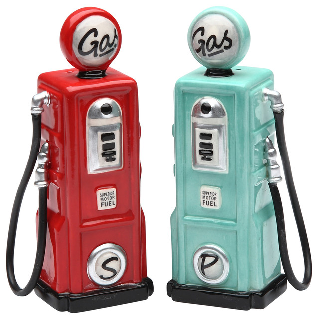 Gas Salt and Pepper Shakers, Set of 2
