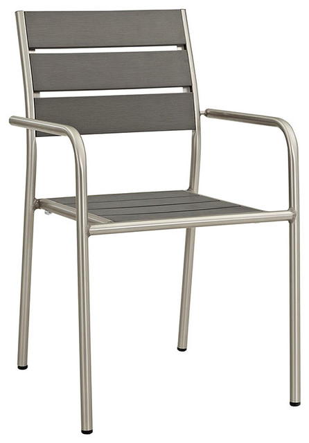 Shore Outdoor Patio Aluminum Dining Chair, Silver And Gray.