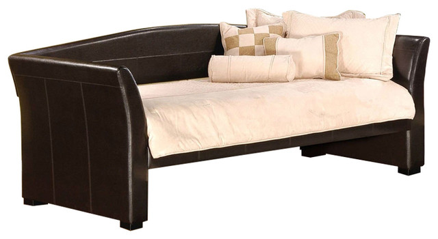 Twin Size Brown Faux Leather Upholstered Daybeds With Wood Slats.