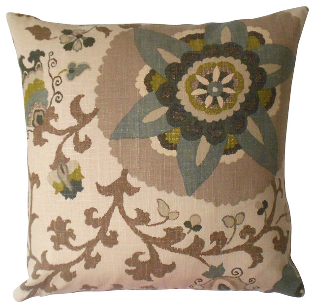 Green Brown Tan And Gray Floral Suzani Decorative Pillow