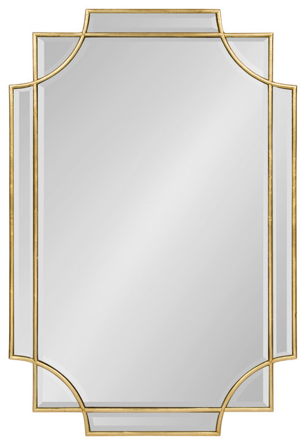 Minuette Decorative Rectangle Wall Mirror Gold 24x36