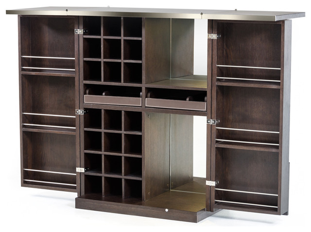 Homeroots Furniture Modern Brown Oak Wine Cabinet