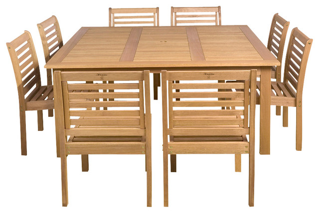 Eucalyptus 9-Piece Armless Square Patio Dining Set.