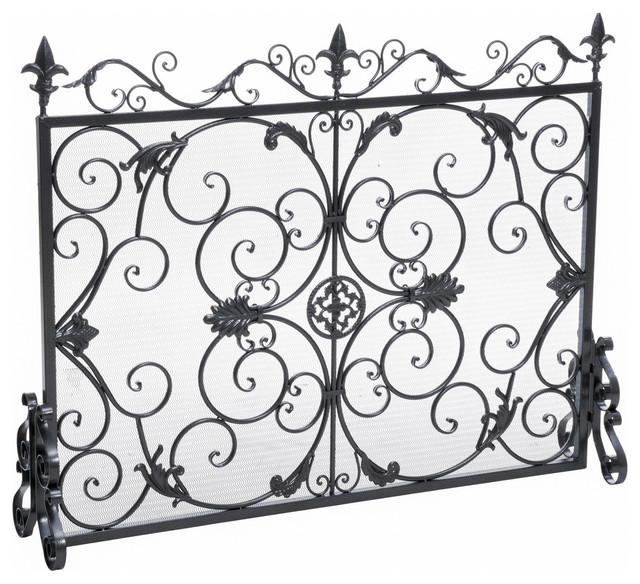 Gdf Studio Darcie Wrought Iron Fireplace Screen Silver Finish