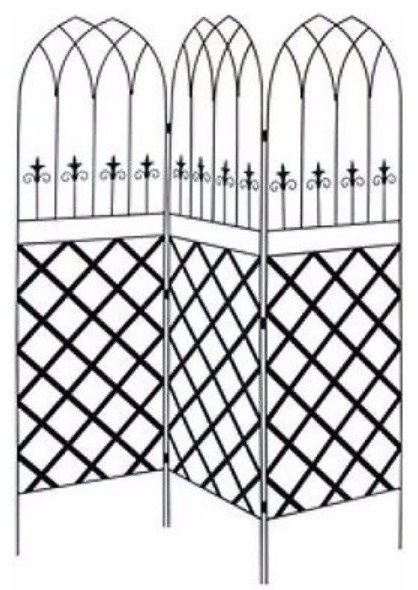 6&x27; 3-Panel Black Metal Lattice, Garden Trellis.