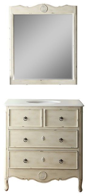 "34"" Distress Light Cream Daleville Bathroom Vanity And Mirror Set."