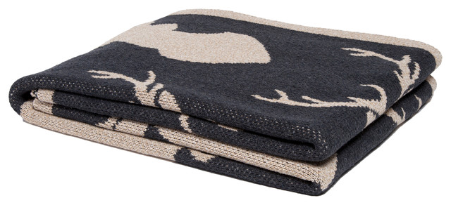 Stag Silhouette Eco Throw, Beige.