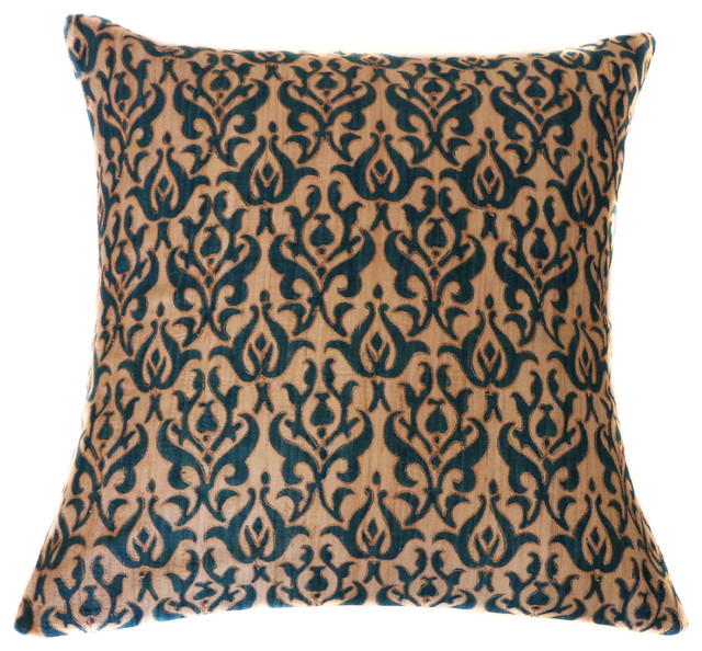Tussar Blue Pillow.