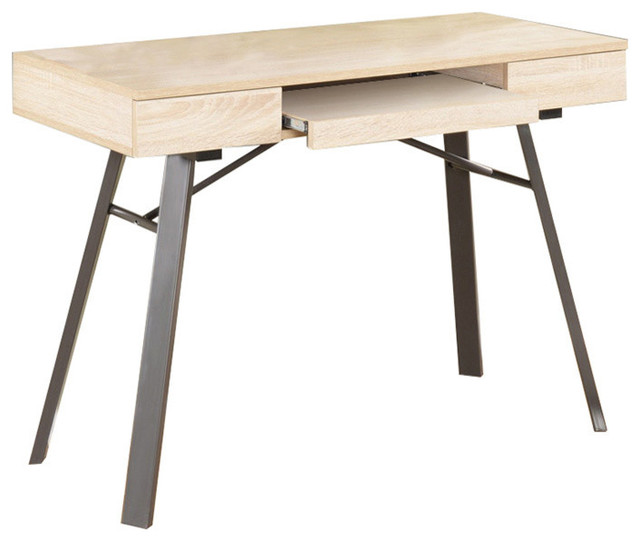 Metal With Wood Workstation Writing Computer Desk Natural