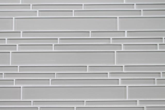 Country Cottage Light Taupe Random Strip Glass Mosaic Tile