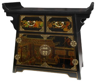 Black Lacquer Village Life Altar Cabinet - Traditional - Side Tables And End Tables - by ...