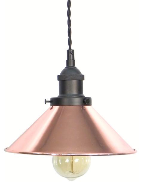 Copper Shade Pendant Light, Black.