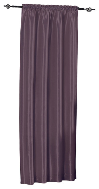 Soho Faux Silk Single Rod Pocket Window Panel, Purple, 42x96.