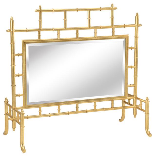 Chelsea House Bamboo Antique Mirror And Gold Firescreen 382232 Par Asian Fireplace Screens