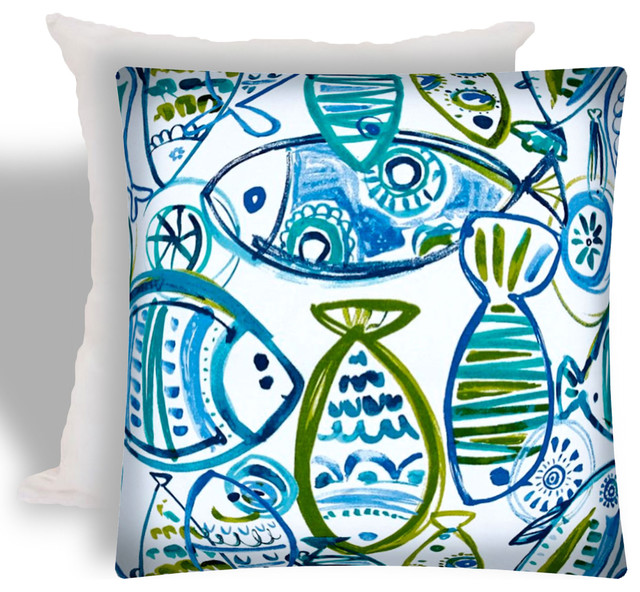 Schooling Fish Indoor Outdoor Zippered Pillow Covers Set Of 2 Beach Style Cushions And Pillows By Joita