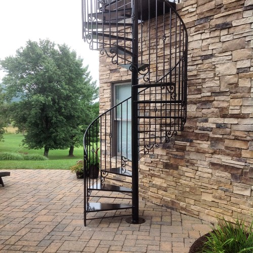 Installed A Decorative Outdoor Spiral Staircase From Screened Porch To Fire  Pit Patio In Blacksbur,g Virginia Today