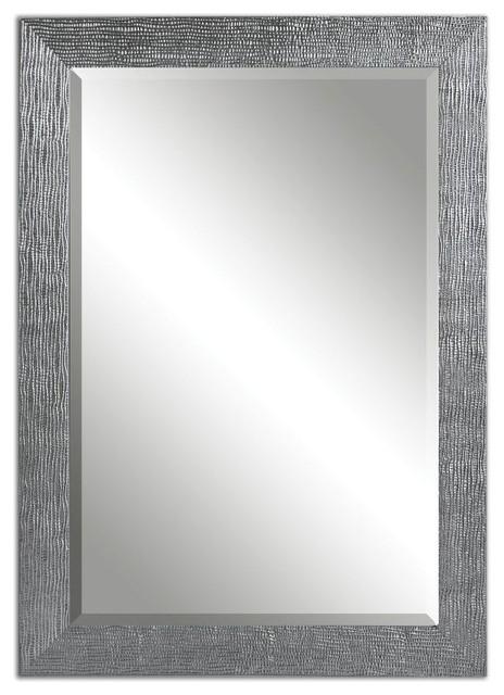 Contemporary Wall Mirror Frame Textured Silver Gray Glaze Home Decor.