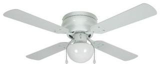 """White 42"""" Hugger Ceiling Fan w Light Kit Transitional"""