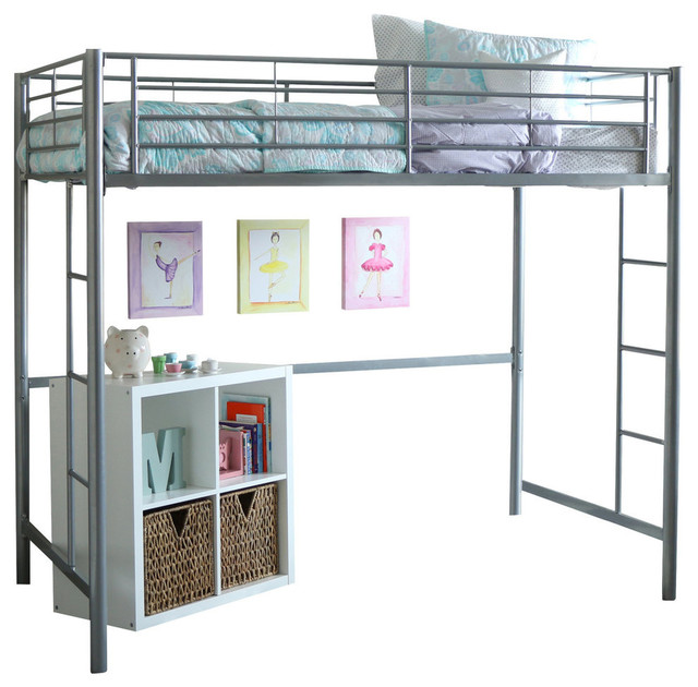 Charmant Twin Metal Loft Bed, Silver
