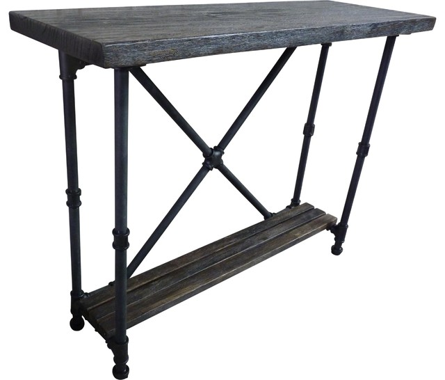 Industrial, 2 Tier Pipe Console Sofa Hall Table, Metal And Reclaimed Wood