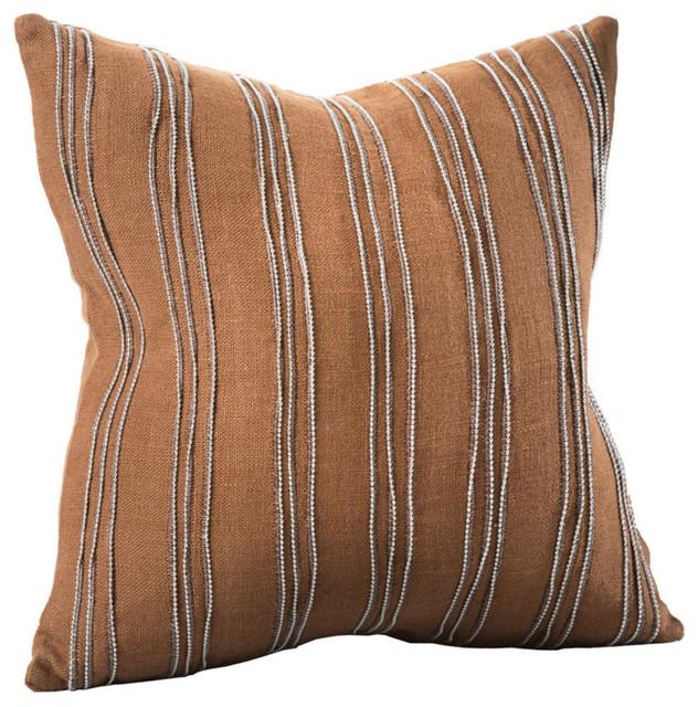 Cirque Linen Beaded Pillow Cover, Cognac.