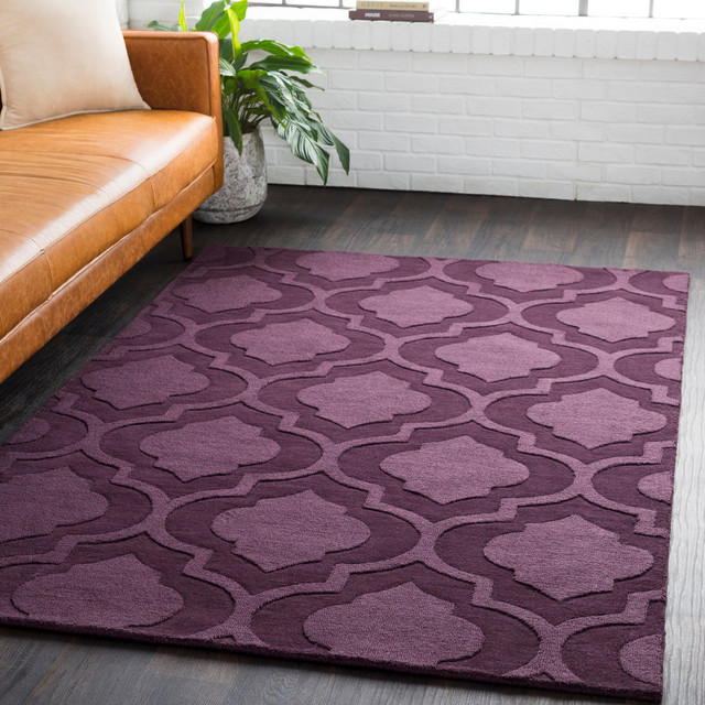 Solid And Border Purple Area Rug