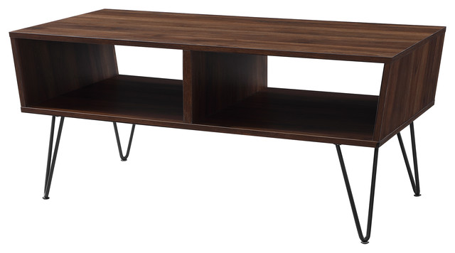 42 Midcentury Modern Angled Coffee Table With Hairpin Legs Midcentury Coffee Tables By Walker Edison
