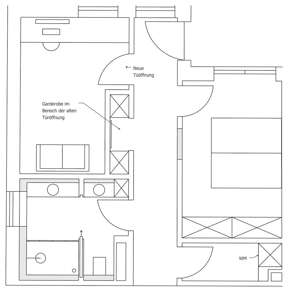 Variante Bürogestaltung und Garderobe