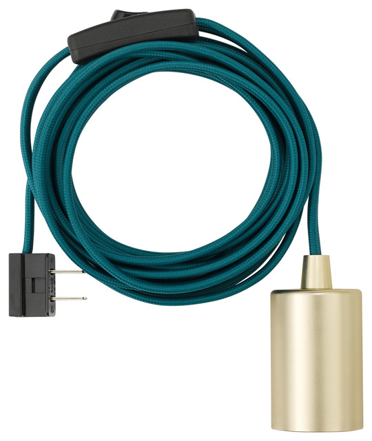 1-Light Teal And Brass Plug-In Exposed Socket Pendant.