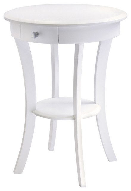 Lovely Sasha Round Accent Table, White Transitional Side Tables And End