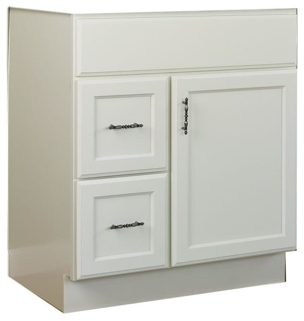 Jsi Plymouth 30 White 2 Door Vanity With One Left Hand Drawers Cabinet Only Transitional Bathroom Vanities And Sink Consoles By Gem Llc