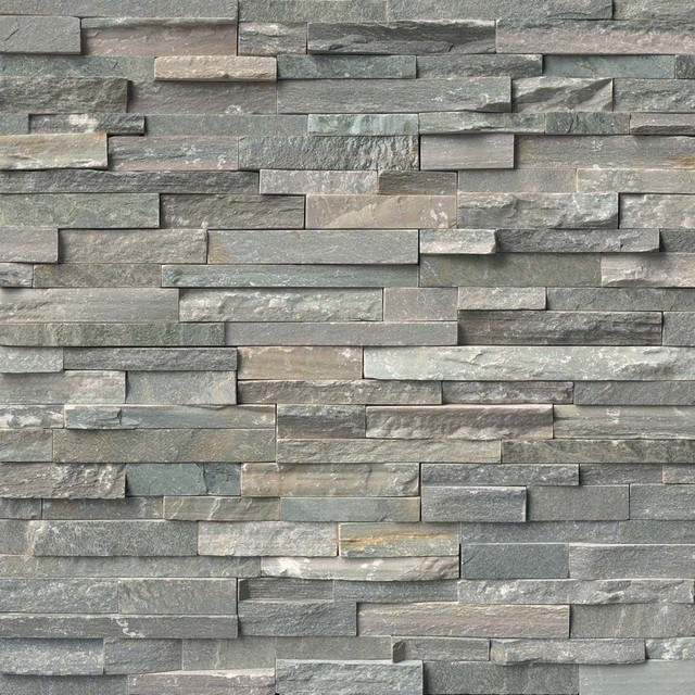 Sierra Blue Stacked Stone Split Face 6x24 Quartzite