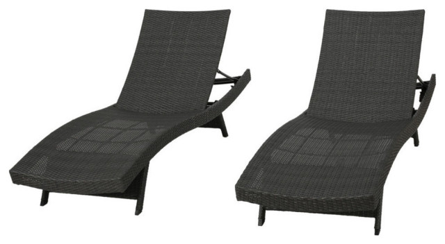 GDF Studio Olivia Outdoor Gray Wicker Chaise Lounge Chairs, Set of 2
