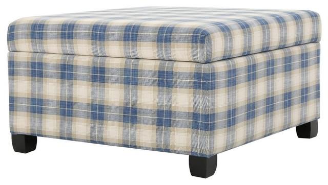 Miraculous Gdf Studio Matias Blue Plaid Fabric Storage Ottoman Machost Co Dining Chair Design Ideas Machostcouk