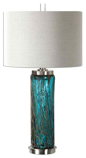 Superbe Aqua Ocean Blue Glass Table Lamp
