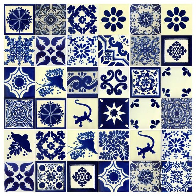 X Individual Piece Mexican Talavera Handmade Tiles Piece - 4 inch mexican tile