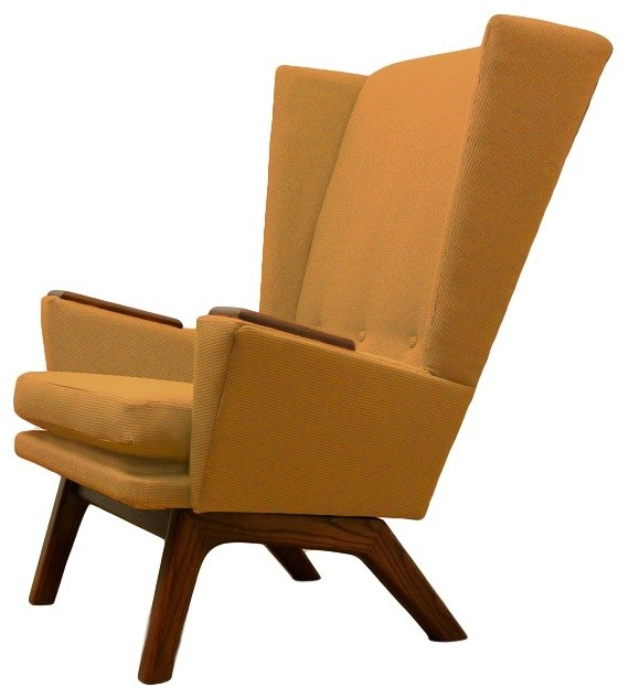 Mustard Seed Yellow Upholstered Wingback Mid Century