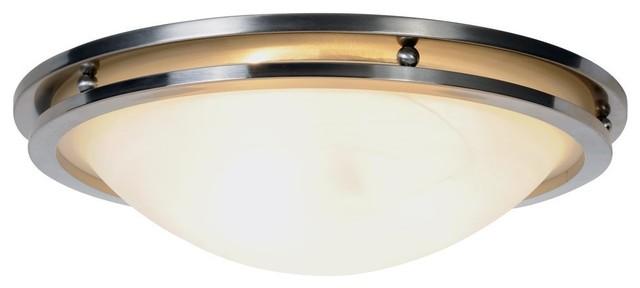 Monumen Lighting Contemporary Brushed Nickel Flush Mount 3-Light Ceiling Fixture.