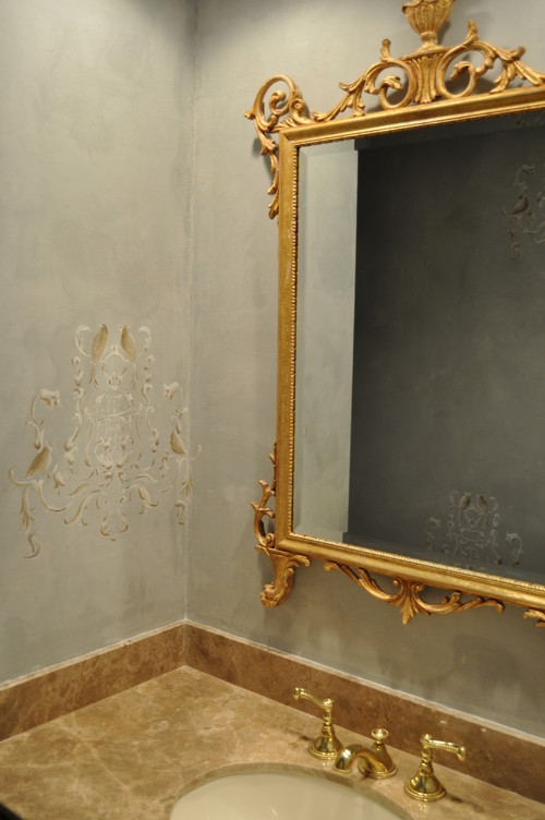 Custom Plaster Wall Finish traditional powder room