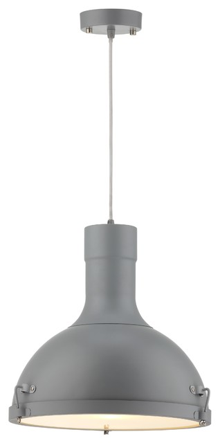 Purpose Dome Industrial Pendant Light, Gray.