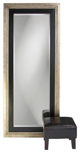 Dawson Silver And Black Leaner Mirror Contemporary