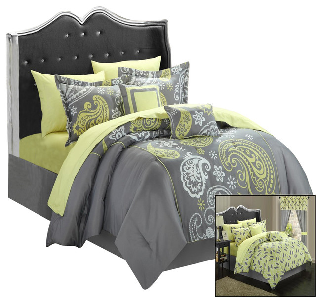 Piece Mega Comforter Bed In A Bag Set, Yellow And Gray Paisley Bedding
