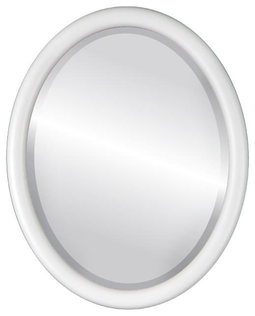 "Pasadena Framed Oval Mirror In Linen White, 13""x17""."