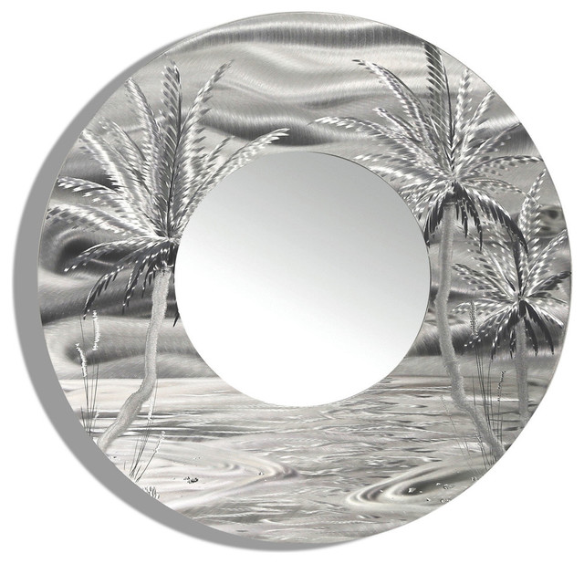 Nautical Wall Mirror round mirror tropical palm tree nautical beach decor handmade