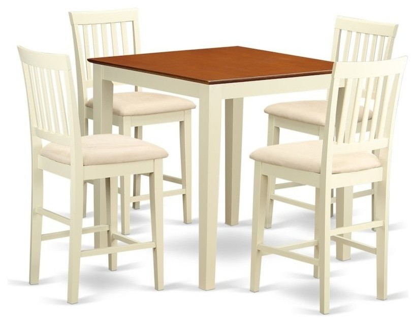 5 Piece Counter Height Pub Set Counter Height Table And 4 Kitchen Dining Chairs Contemporary Dining Sets By Bisonoffice