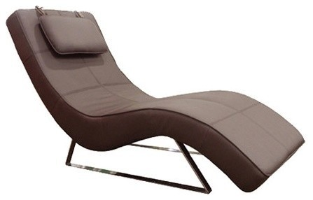 Whiteline modern living soho chrome chaise view in for Abbyson living soho cream fabric chaise