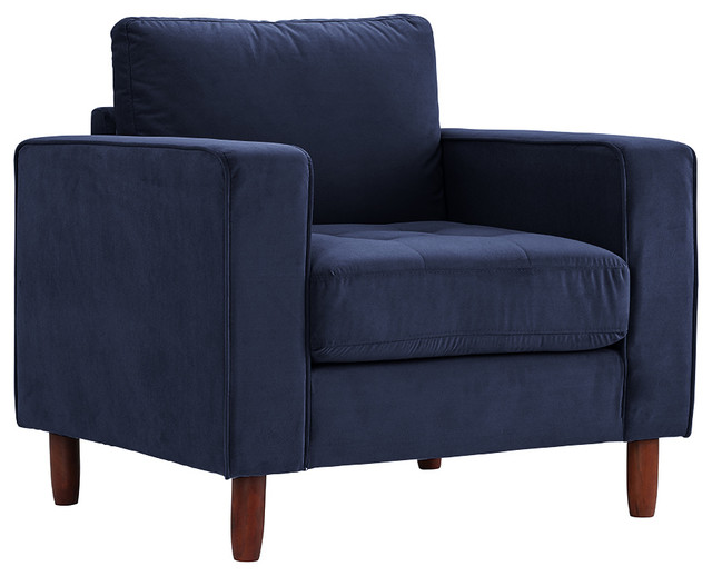 Modern Contemporary Living Room Velvet Fabric Accent Chair Armchair, Navy.
