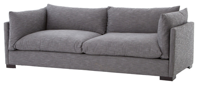 Beau Elbert Modern Classic Dark Gray Pillow Back Sofa