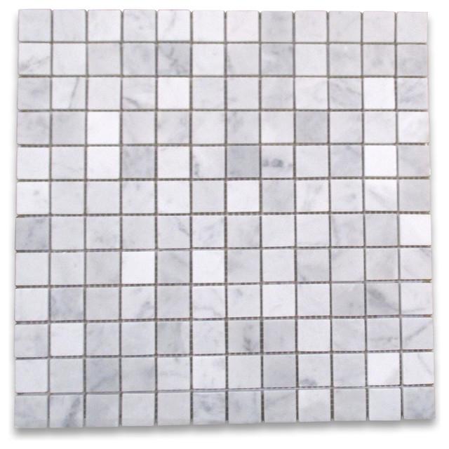 "12""x12"" Carrara White Square Mosaic Tile Honed"