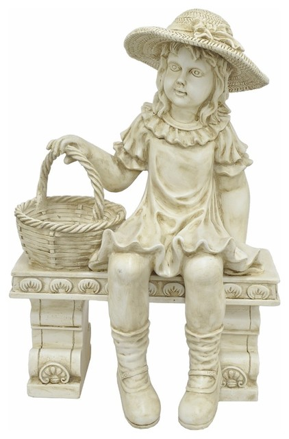 Girl On Bench Figurine Farmhouse Garden Statues And